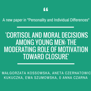 Małgorzata Kossowska and team in 'Personality and Individual Differences'