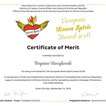 European Roma Spirit Award for Joanna Grzymała-Moszczyńska and collaborators!