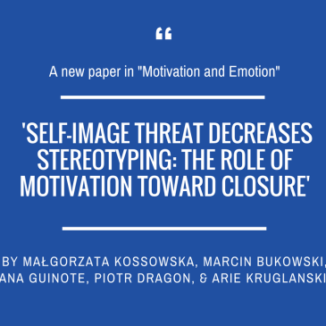 Małgorzata Kossowska and team in 'Motivation and Emotion'