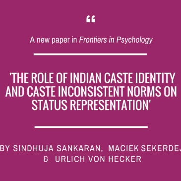 Sindhuja Sankaran, Maciek Sekerdej and Ulrich von Hecker in 'Frontiers in Psychology'