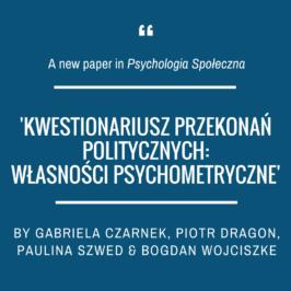 "A new article in ""Psychologia Społeczna"" (Social Psychological Bulletin)"