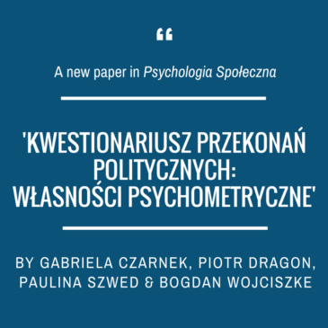 "A new article in ""Psychologia Społeczna"" (Social Psychological Bulletin)"