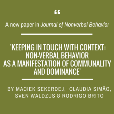 Maciek Sekerdej on perception of touch for 'Journal of Nonverbal Behavior'