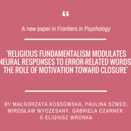 Małgorzata Kossowska and colleagues on religious fundamentalism in Frontiers in Psychology