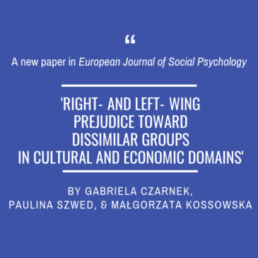 A new article of Gabriela Czarnek, Paulina Szwed, and Małgorzata Kossowska in EJSP!