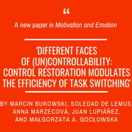 A new article by Marcin Bukowski and team in 'Motivation and Emotion'