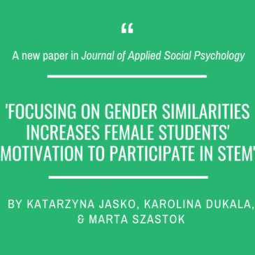 A new paper in Journal of Applied Social Psychology!