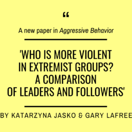 Katarzyna Jasko and Gary LaFree just published in 'Aggressive Behavior'