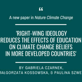 Gabriela Czarnek, Małgorzata Kossowska and Paulina Szwed in Nature Climate Change!