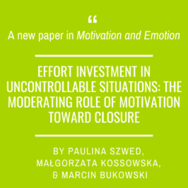 A new paper in Motivation and Emotion by Paulina Szwed and colleagues!